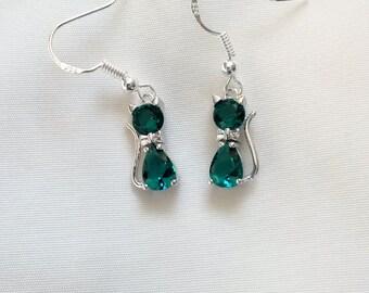 Cat Earrings - Crystal Cat Earrings - Emerald Green Crystal Cat Earrings - Sterling Silver Hooks -