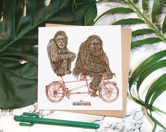 Orangutandem / / carré de carte de carte de vœux, Illustration de singe, vélos