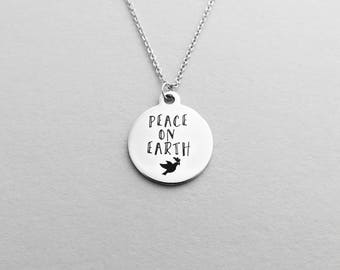 Peace on Earth Necklace Silver with Dove