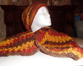 crochet slouchy hat with scarf, winter hat. winter scarf, christmas, ladies clothing, ladies hat, ladies scarf