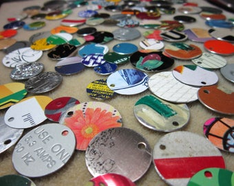Recycled Tin Discs Charms Tokens Tags - MODERN Metal Supplies - Outsider Art Jewelry