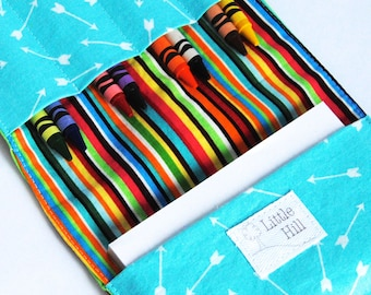 Crayon Wallet, 8 Crayons and Notepad Included, Art Party Favors, Kids Birthday Favors, Wedding Favors, Kids Organizer, Arrows and Stripes