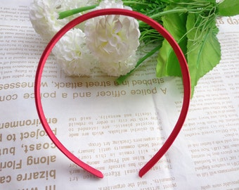 SALE--30 pcs Plastic Headband With Red Cloth Covered 10mm Wide