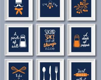 Superieur Set Of 9   Retro Style Kitchen Decor, Kitchen Print, Kitchen Wall Art,  Kitchen Print Set, Kitchen Decoration, Kitchen Poster, Orange, Blue