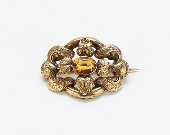 Antique Edwardian Gold Topaz Brooch - Vintage 1900s Gold Rhinestone Brooch