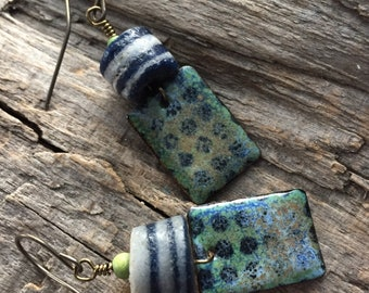 Copper Enamel Rectangle Earrings with Antique African Bead