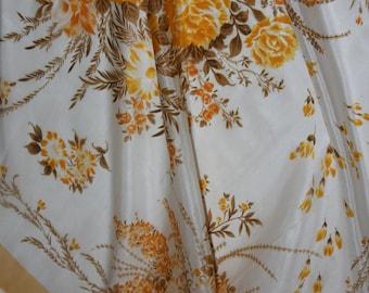"Designer Scarf  - Yellow & White Floral - 28 x 28"" square"