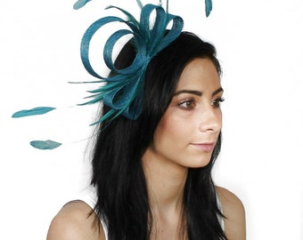 Teal  Fascinator Hat for Kentucky Derby, Weddings and Christmas Parties