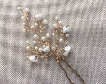 Glass pearl & baby bell bead bridal hair pins, wedding hair pins, bridal hair pins, bridal headpiece, bridal accessories, bridal hairpin