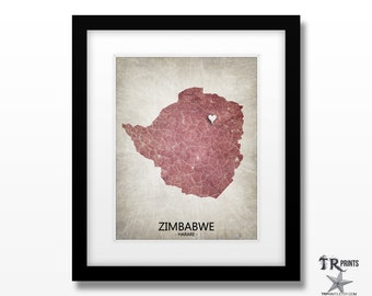 Zimbabwe Africa Map Art Print - Home Is Where The Heart Is Love Map - Custom Map Art Print Available in Multiple Size & Color Options