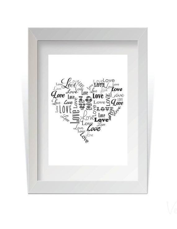 Instant Download Heart made out of words Love in various