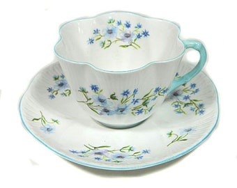 Vintage Shelley Blue Rock Bone China Cup and Saucer