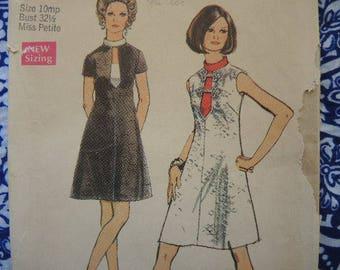 vintage 1970s simplicity sewing pattern 8734 misses petite dress size 10mp UNCUT