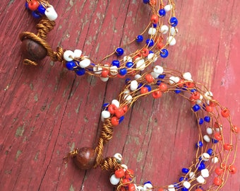 Red, White and Blue Beaded Copper Bracelets (pair)