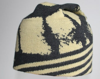 Yellow/Grey Animal Print BEANIE (SIZE M) - Easy Care merino wool knitted jacquard || Australian made & designed || Gift for Her