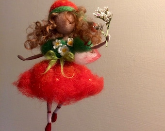 Needle felted fairy, Waldorf inspired, Wool fairy, Fairy Strawberry in red dress, Elf, Art doll, Flower fairy, Doll miniature, Gift, Nature