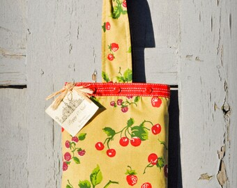 Handmade Small Tote Bag from Vintage Cherries Fabric- Lined