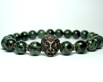 Kambaba Jasper Bracelet, Mens Jasper Lion Bracelet, Mens Beaded Bracelet, Birthday Gift for Men, Bead Bracelet, Gemstone Stretch Bracelet