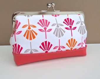 Audrey Clutch: Pink Tulips with Coral Pink Leather Base