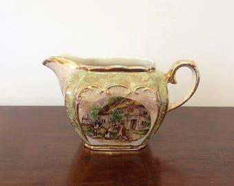 Sadler Mint Green and Gold Gilt Cube Shape Creamer Milk Jug Tavern Inn Scene - As Found