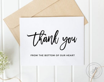 Wedding Bridal Shower Thank You Cards, Wedding Thank You Card, Printable Thank you, Thank you card, Printable wedding card, Thank you