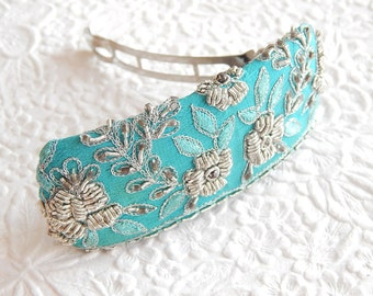 Aqua embroidered beaded hair barrette, thick hair clip, ponytail holder, BACK IN STOCK