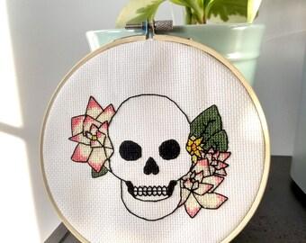 Floral Skull Cross Stitch