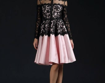 Black and pink cocktail Dress, Knee Length Designer Evening Dress, party dress,Lace Evening Dress, Long sleeves dress