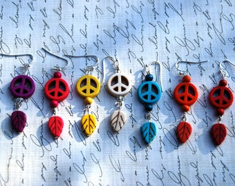 Colorful Peace Sign and Leaf Acrylic Dangle Earrings