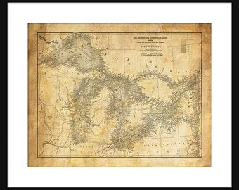 Great Lakes Map - Map Art - Lake Superior, Lake Michigan, Lake Huron, Lake Erie - Sepia