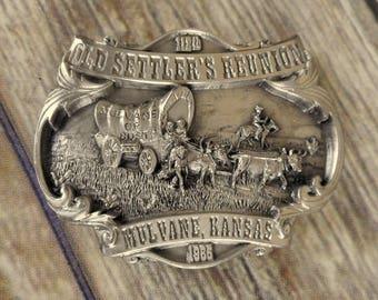 Mulvane KS Belt Buckle Old Settlers Reunion Siskiyou 1985 Stagecoach Horse Vintage