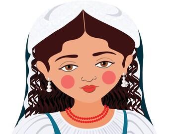 Italian Wall Art Print features culturally traditional dress drawn in a Russian matryoshka nesting doll shape