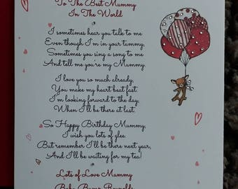 Handmade Personalised Birthday Card To Mummy From The Baby Bump