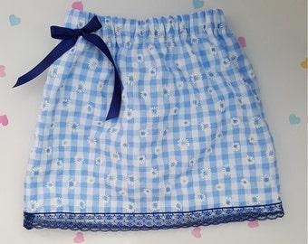 Blue Gingham Daisy Flower Print Skirt, Girls Fashion, Girls Clothing, School Skirt, Girl Skirt, Baby Skirt, Cotton, Elasticated, Bow
