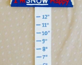 Snowman snow measuring sign