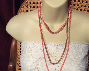 Vintage triple strand multi colored chains necklace.