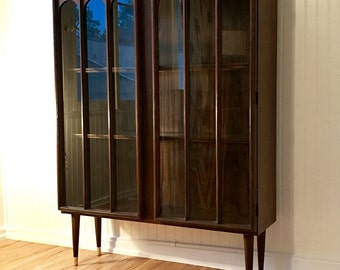 HOLD FOR MEGAN!! Mid Century Walnut Display Cabinet, Danish Modern Keller Bookshelf with Arched Glass Doors, Lighted China Cabinet Hutch