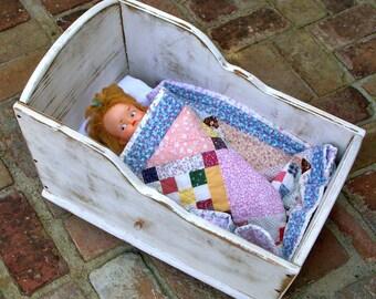 Doll Cradle Girls Room Children Nursery Decor Doll Gifts Rocking Dolly Bed Toy Crib Girls Bedroom Decor Nursery Little Girl Handmade USA