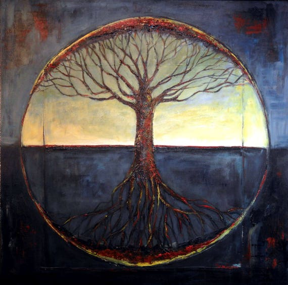 Original Painting Tree of Life Made to Order - Black and Grey Vitruvian - Real & Expressive art by BenWill
