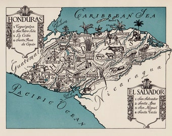 Pictorial HONDURAS Map El Salvador Picture Map Print 1940s Pictorial Map Travel Map Gallery Wall Art Gift for Boyfriend Birthday Gift