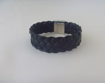 Black braided bracelet for a men