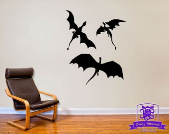 Great 3 Dragons Flying Wall Decal Decor