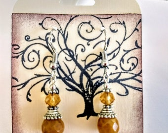 Yellow jade and crystal earrings
