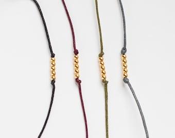 Gold Bead Cotton Bracelet, Golden bracelet, Minimal bracelet, simple minimal design, golden friendship bracelet