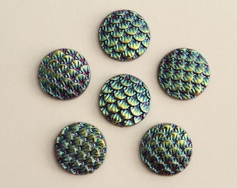 Mermaid Dragon Scale Cabochons - Blue Gold Black Iridescent . 12mm (6)