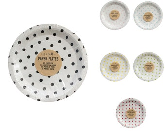 Paper Party Plates Dots - Tableware Wedding Birthday Decorations