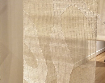 Handwoven Wall Art with Paper Yarn in White and Silver