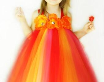 Tutu Dress Flower Girl  Sunset Inspired NB-4t