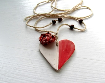 Christmes gift Ceramic Necklace  My Red White HeaRt- jewelry.