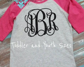 TODDLER AND YOUTH Glitter Monogrammed Baseball shirt